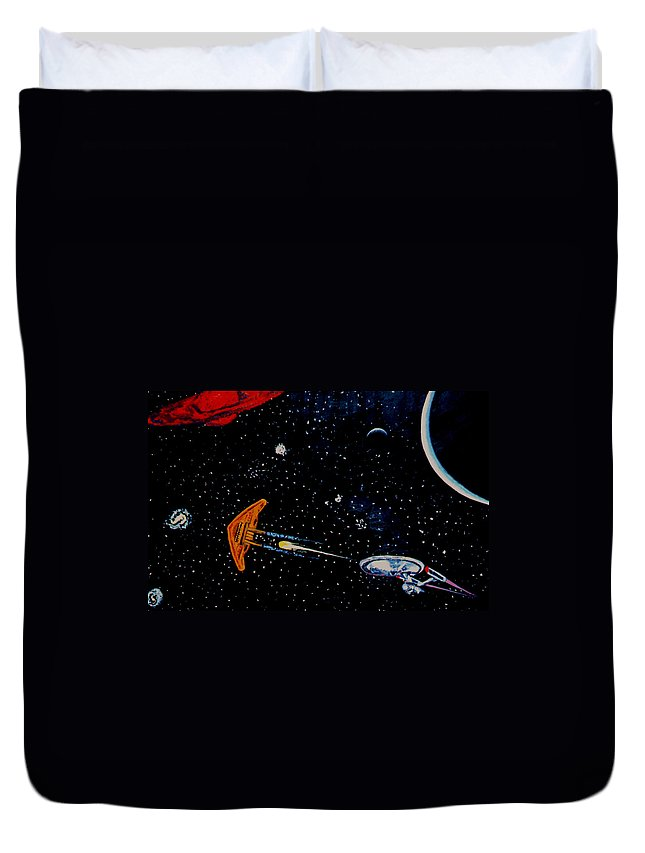 Startrel.scoemce Foxopm.s[ace.[;amets.stars Duvet Cover featuring the painting Startrek by Stan Hamilton