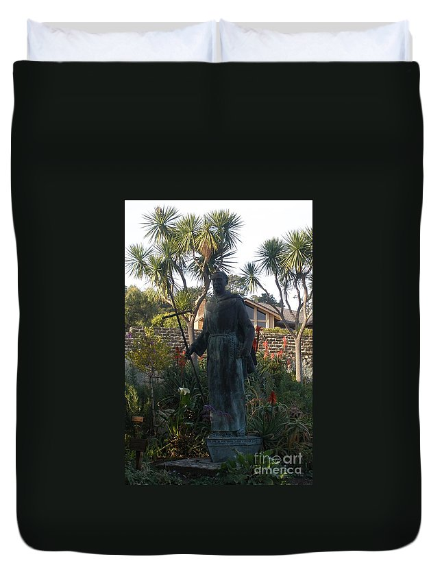 Statue Duvet Cover featuring the photograph Statue At Mission Carmel by Jeanie Watson