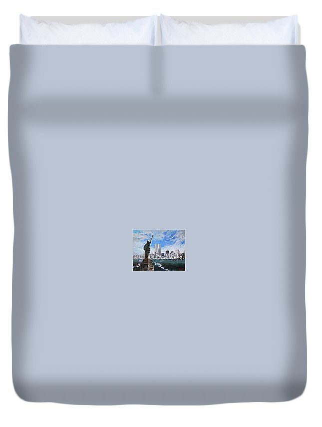 Landscape Duvet Cover featuring the painting Statue Of Liberty And Tween Towers by Ylli Haruni