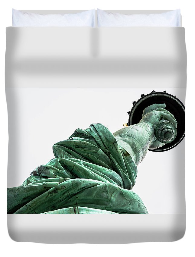4th Of July Duvet Cover featuring the photograph Statue Of Liberty, Arm, 3 by Marco Catini