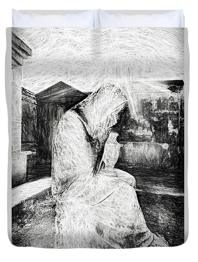 Cemetery Duvet Cover featuring the photograph Statue Of Weeping Woman, Lafayette Cemetery, New Orleans In Black And White Sketch by Kay Brewer