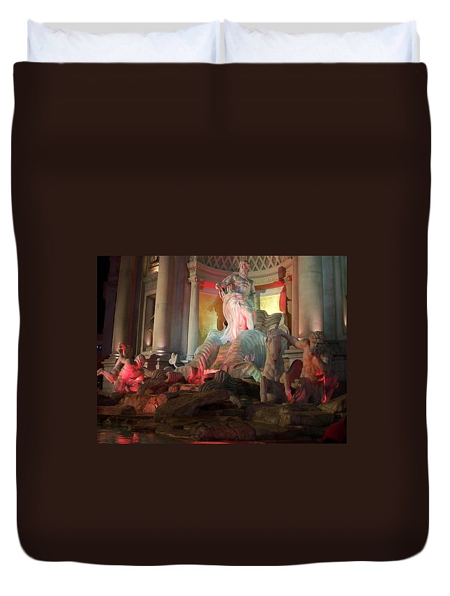 Ceasars Palace Duvet Cover featuring the photograph Statues At Ceasars Palace by Anita Burgermeister