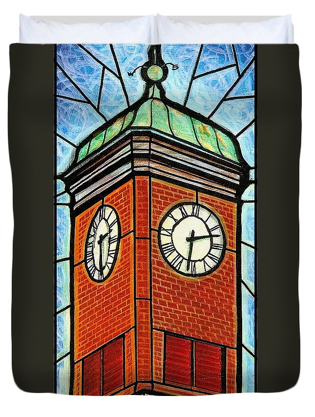 Clocks Duvet Cover featuring the painting Staunton Clock Tower Landmark by Jim Harris