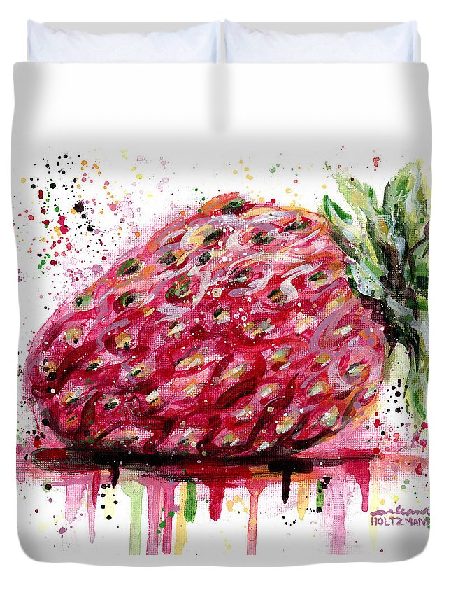Strawberry Duvet Cover featuring the painting Stawberry 1 by Arleana Holtzmann