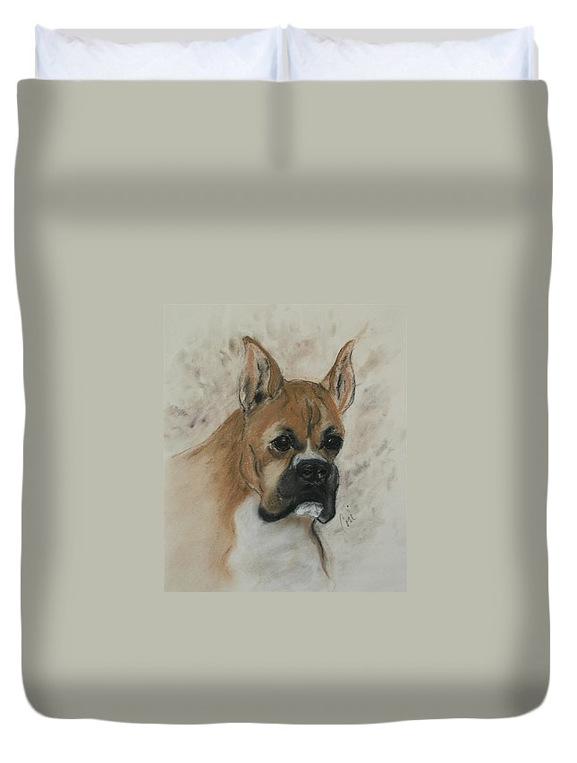 Dog Duvet Cover featuring the drawing Steady Goes It by Cori Solomon
