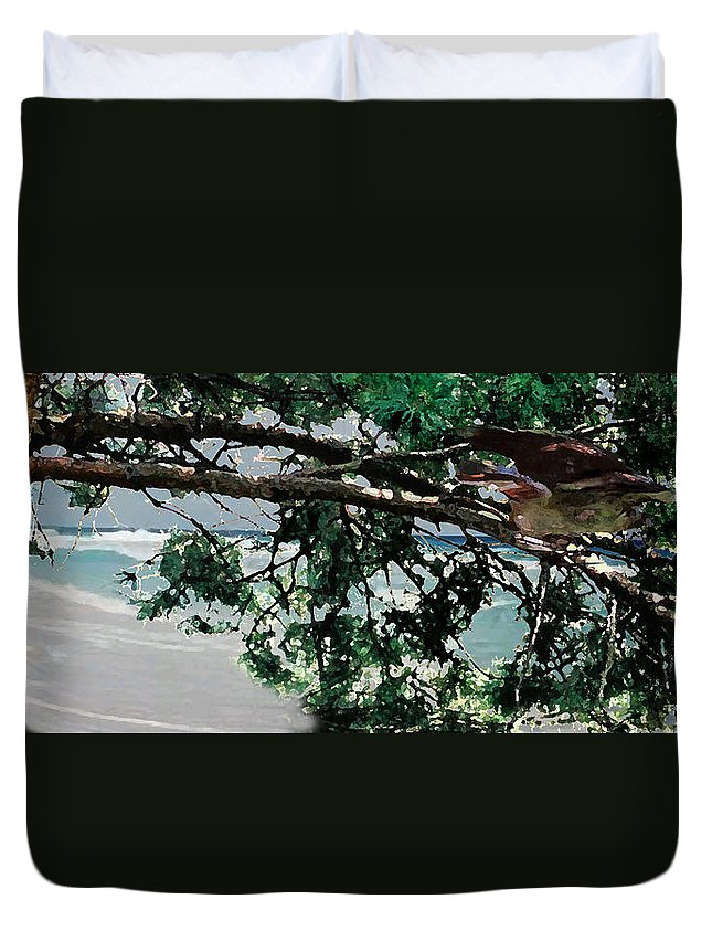 Landscape Duvet Cover featuring the painting Stealth by Steve Karol