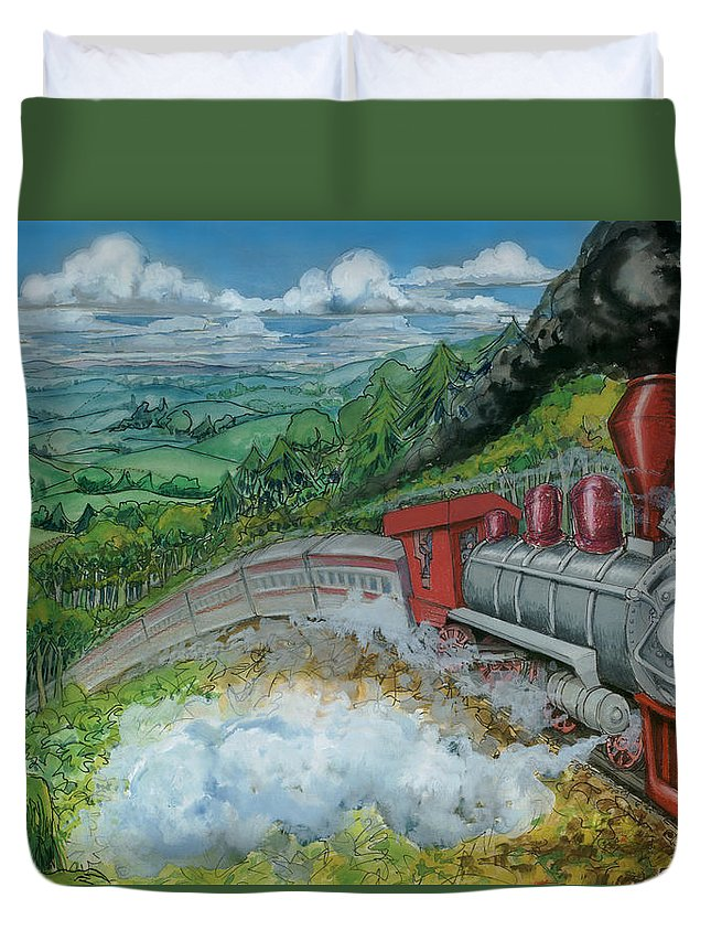 Train Duvet Cover featuring the painting Steam Train by Kevin Middleton