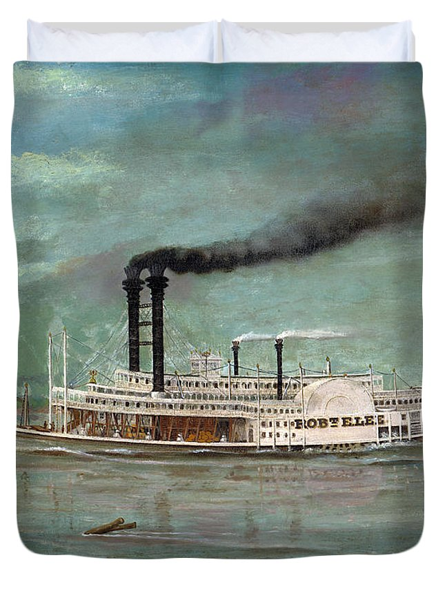 Steamboat Duvet Cover featuring the painting Steamboat Robert E Lee by War Is Hell Store
