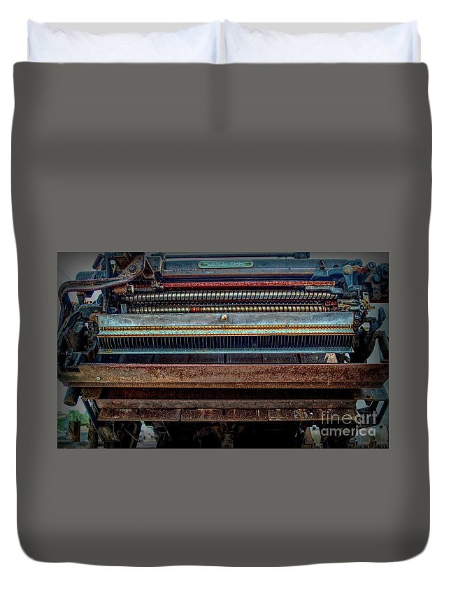 Steampunk Linotype Type Setter Duvet Cover