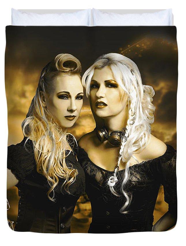 Steampunk Duvet Cover featuring the photograph Steampunk Maidens by Gela Ghaderi