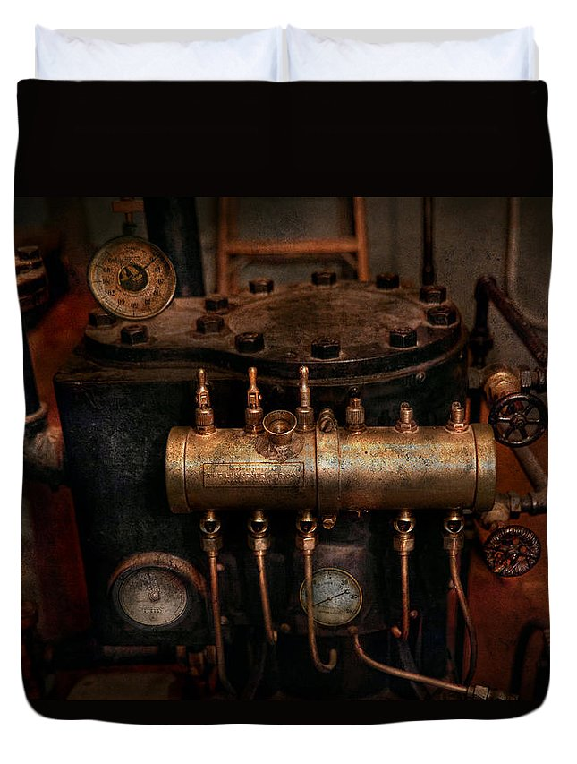 Steampunk Duvet Cover featuring the photograph Steampunk - Plumbing - The Valve Matrix by Mike Savad