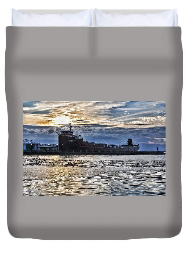 Steamship Duvet Cover featuring the photograph Steamship William G. Mather - 1 by Mark Madere