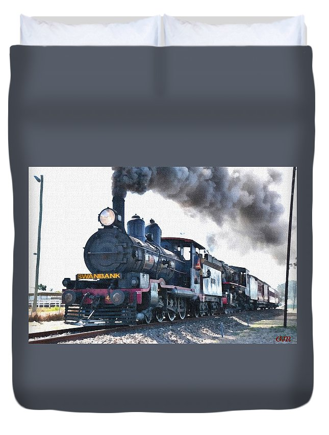 Train Duvet Cover featuring the digital art Steamtrain To Carltoncreekhurst L B by Gert J Rheeders