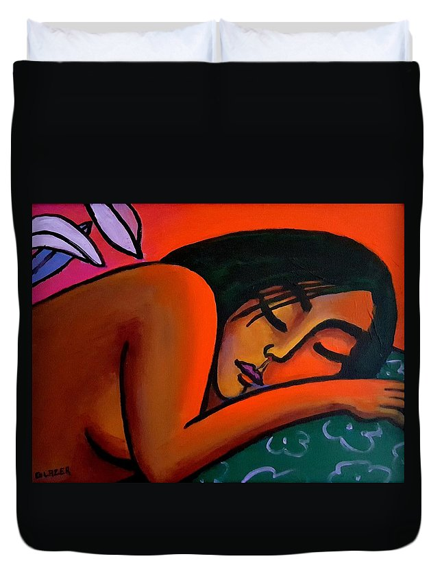 Figurative Duvet Cover featuring the painting Steamy Night by Stuart Glazer