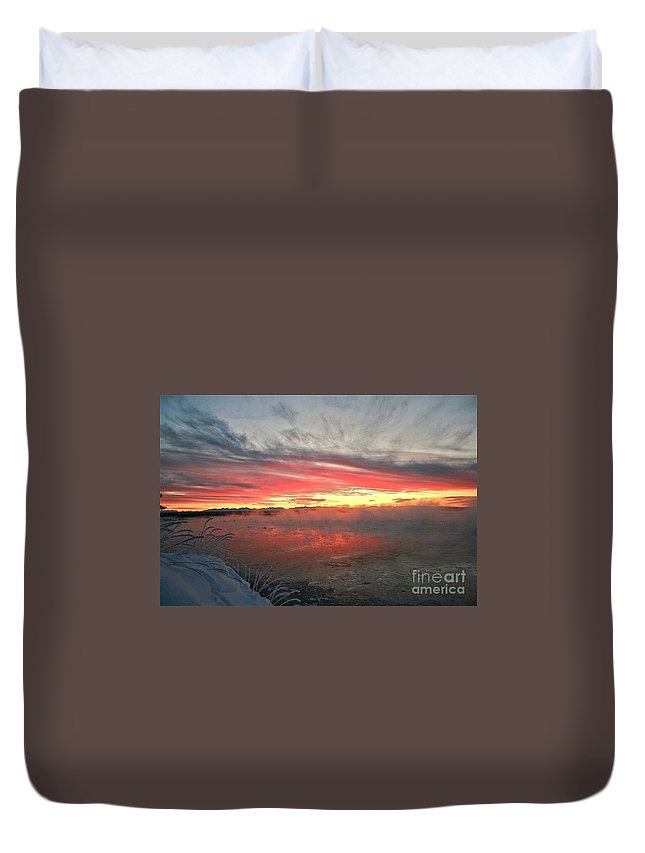 Winter Duvet Cover featuring the photograph Steamy Winter Sunset by Rick Monyahan