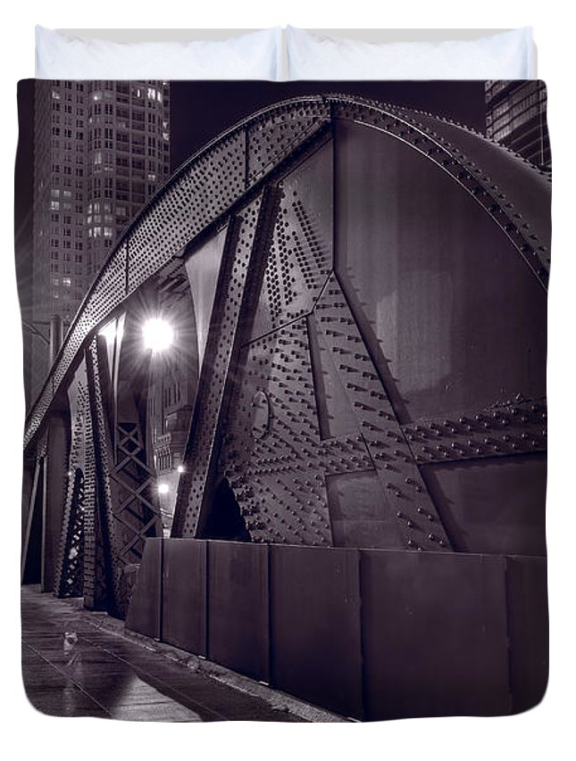 Bridge Duvet Cover featuring the photograph Steel Bridge Chicago Black And White by Steve Gadomski