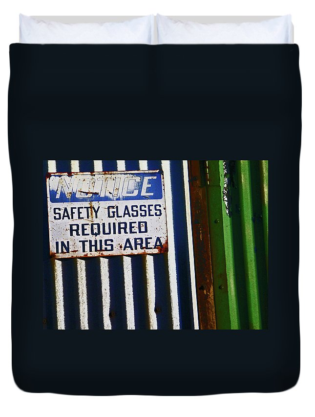 Abstract Duvet Cover featuring the photograph Steel City--safety Glasses by Lenore Senior