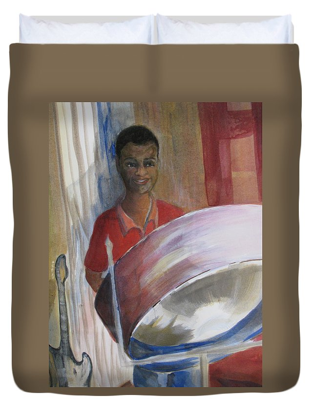 Bahamas Duvet Cover featuring the painting Steel Drums by Donna Steward