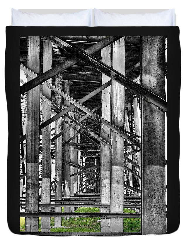 Steel Duvet Cover featuring the photograph Steel Support by Rudy Umans