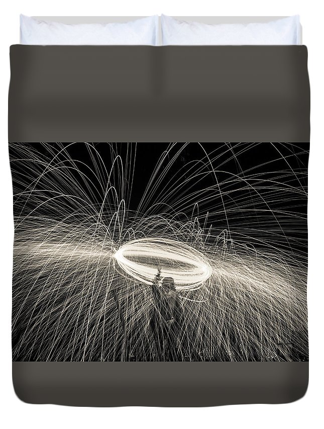 Wire Duvet Cover featuring the photograph Steel Wool Light Works by Georgia Fowler