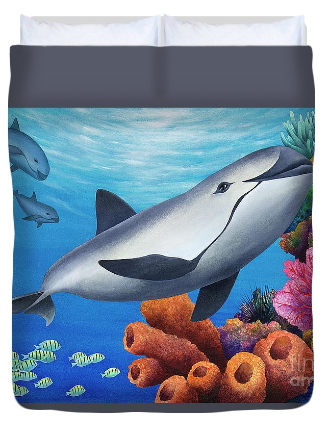 Porpoise Duvet Cover featuring the digital art Vaquita Porpoise by MGL Meiklejohn Graphics Licensing