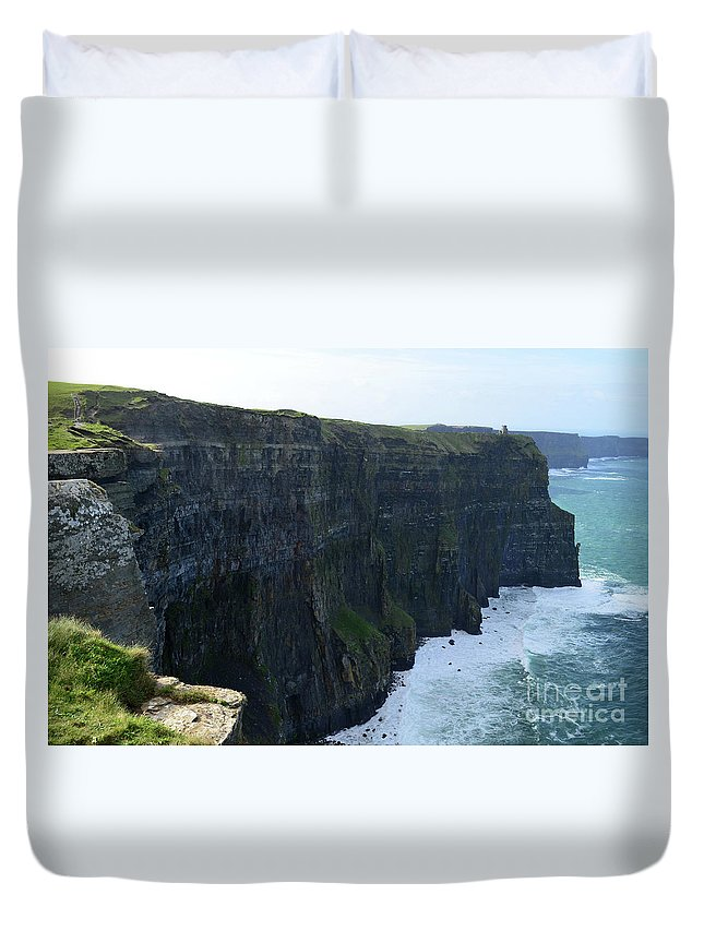 Cliffs-of-moher Duvet Cover featuring the photograph Steep Sheer Sea Cliff's Known As The Cliff's Of Moher by DejaVu Designs