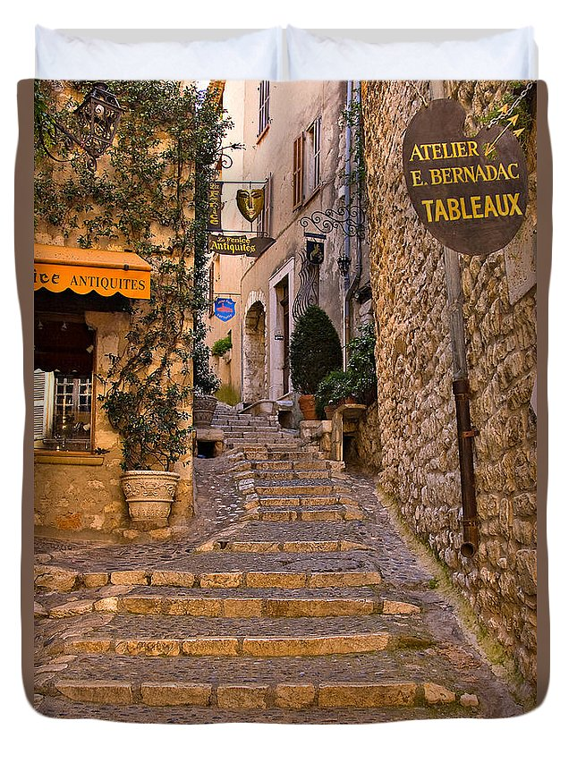 Travel Duvet Cover featuring the photograph Steep Street In St Paul De Vence by Louise Heusinkveld