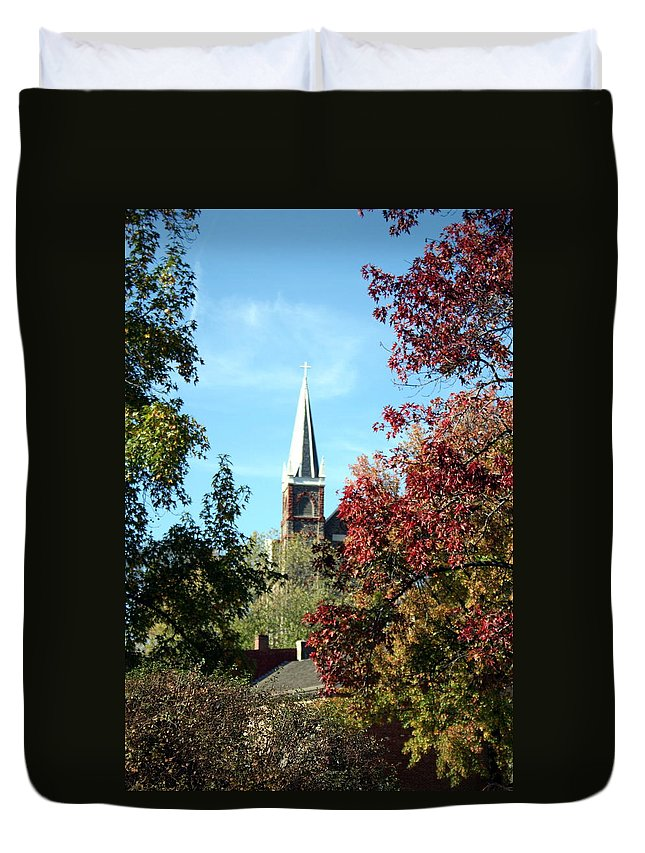 Church Duvet Cover featuring the photograph Steeple At Harprs Ferry by Rebecca Smith