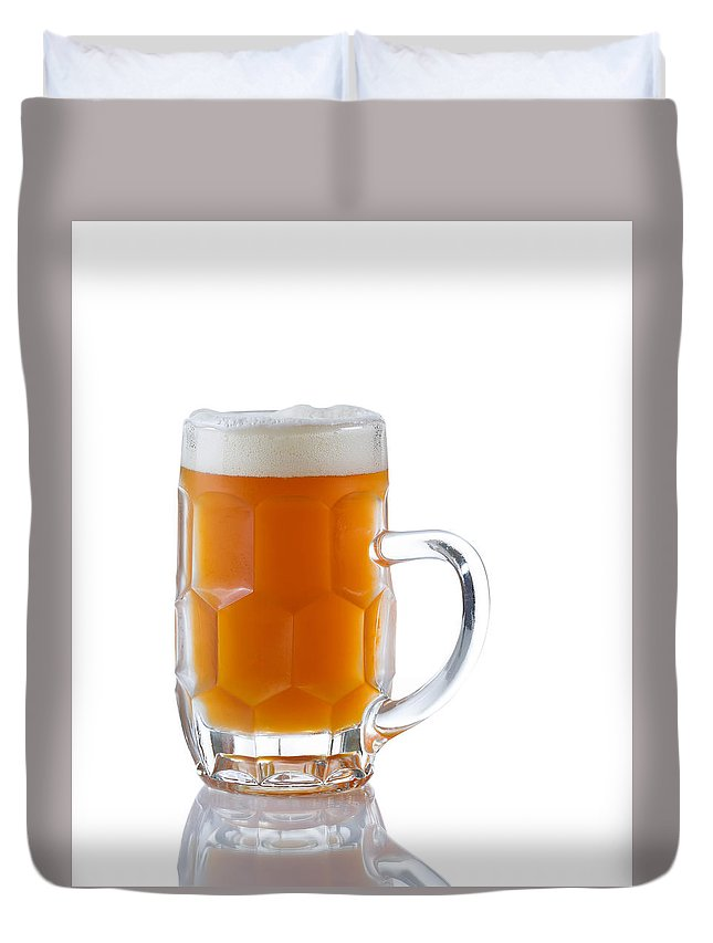 Beer Duvet Cover featuring the photograph Stein Filled With Amber Beer by Thomas Baker
