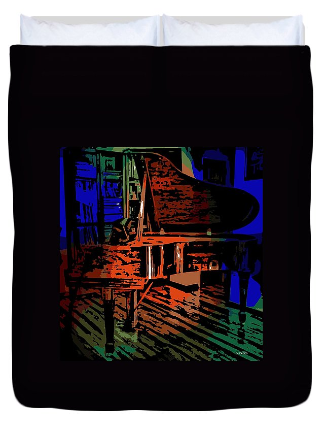 Steinway Duvet Cover featuring the photograph Steinway Piano by George Pedro