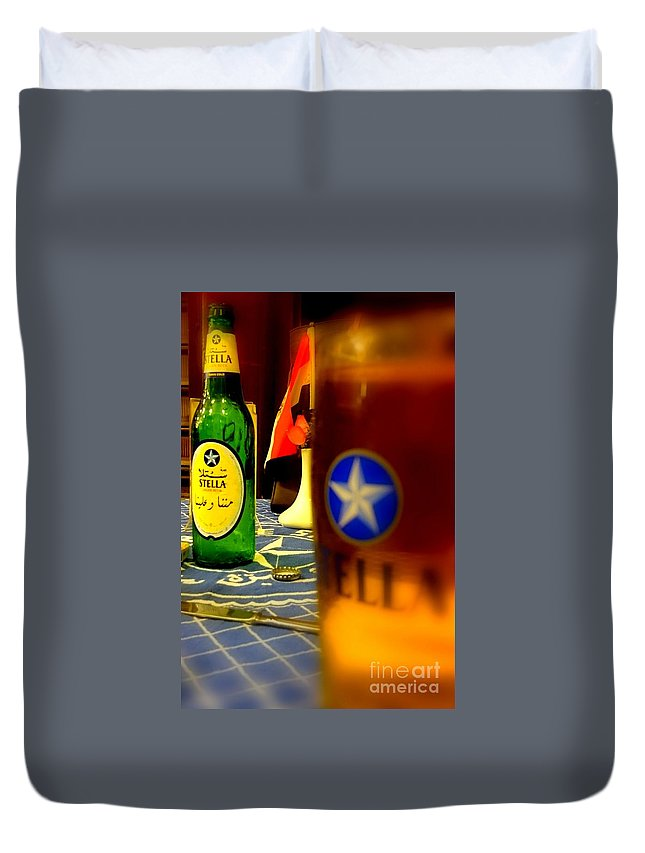 Stella Beer Bottle Egypt Beer Duvet Cover featuring the photograph Stella Beer by Mina Milad