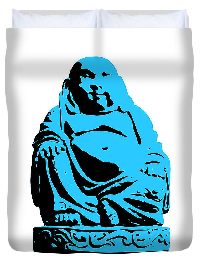 Andy Warhol Duvet Cover featuring the digital art Stencil Buddha by Pixel Chimp