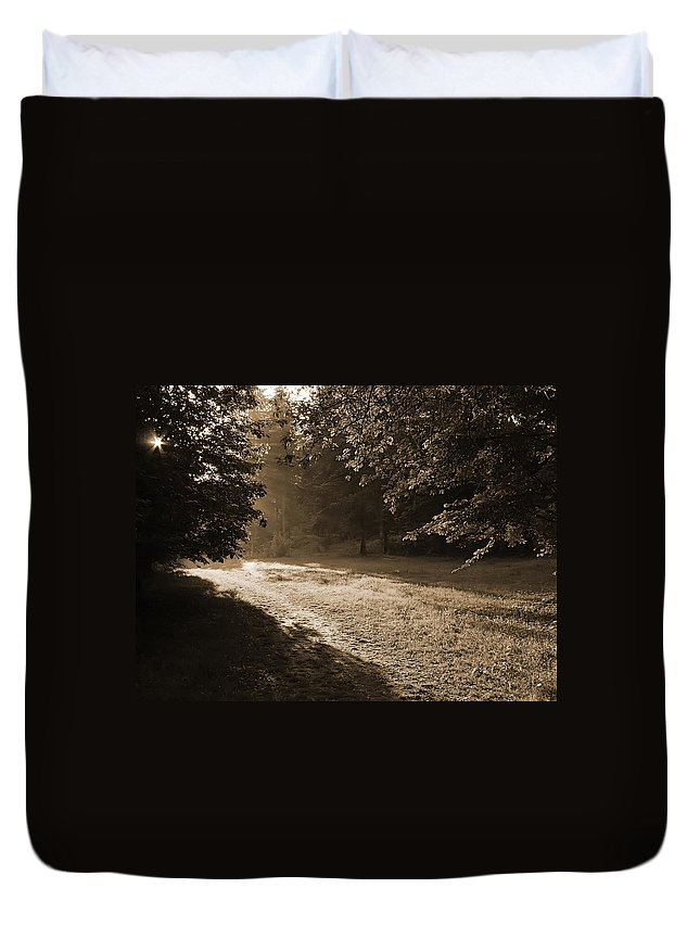 Light Duvet Cover featuring the photograph Step Out Of The Shadow by Daniel Csoka