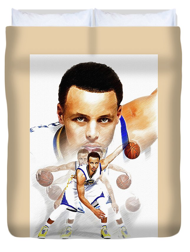 Stephen Curry Duvet Cover featuring the painting Steph Curry 2017 Profile by John Farr