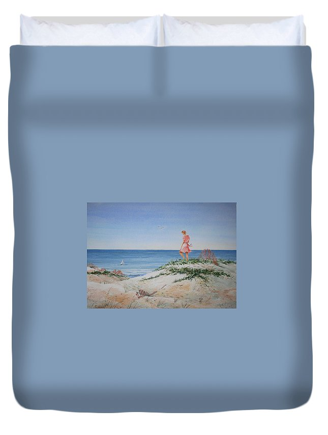 Sand Dunes Duvet Cover featuring the painting Stephanie by Tom Harris