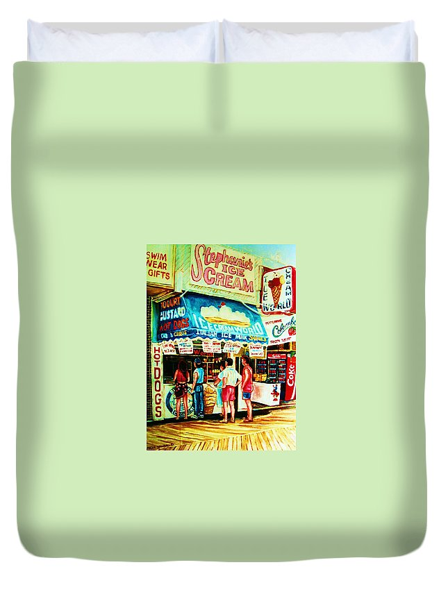 Children Duvet Cover featuring the painting Stephanies Icecream Stand by Carole Spandau