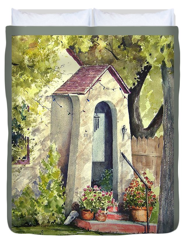 Door Duvet Cover featuring the painting Stephanie's Porch by Sam Sidders