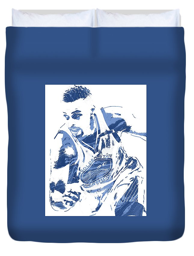 Stephen Curry Duvet Cover featuring the mixed media Stephen Curry Golden State Warriors Pixel Art 8 by Joe Hamilton