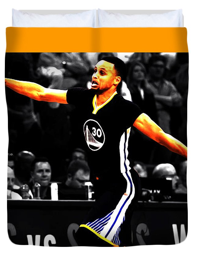 e2584eb9597 Stephen Curry Duvet Cover featuring the mixed media Stephen Curry Scores  Again by Brian Reaves