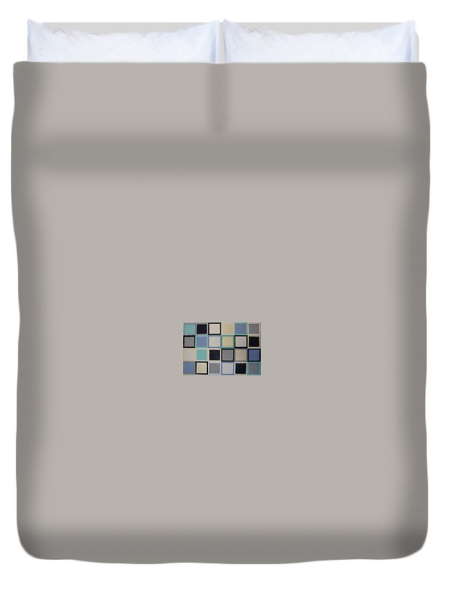Squares Duvet Cover featuring the painting Stepping Stones by Gay Dallek