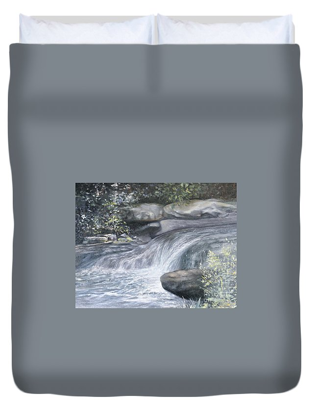 Oil Paintings Of Water Falls Duvet Cover featuring the painting Stepping Stones by Penny Neimiller