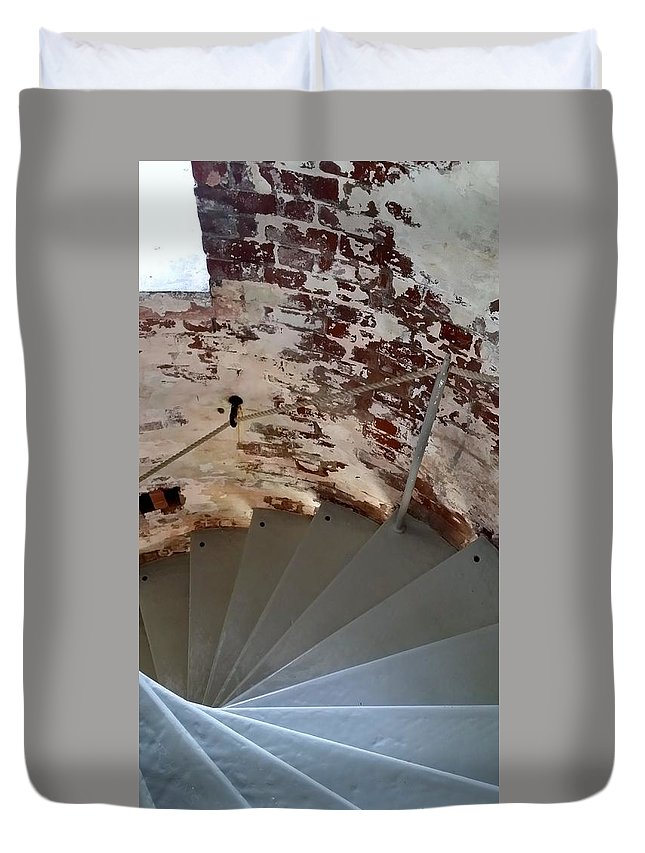 Montauk Duvet Cover featuring the photograph Steps From The Wall by Rob Hans