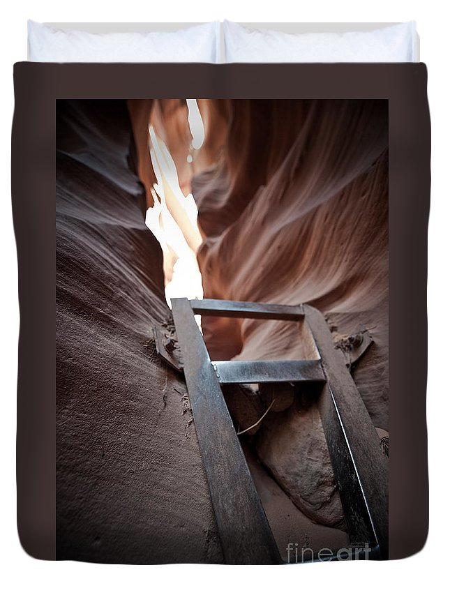 Slot Canyon Duvet Cover featuring the photograph Steps In A Slot by Scott Sawyer