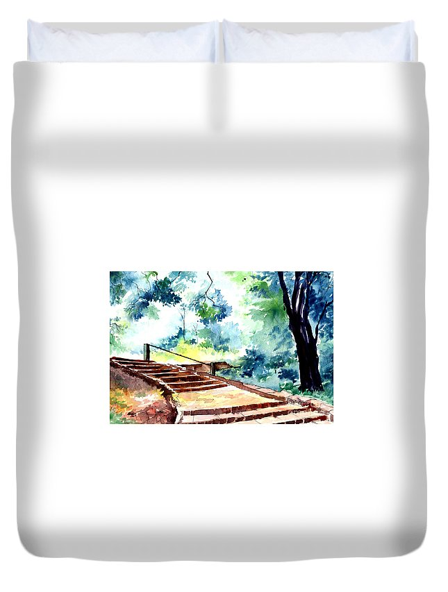 Landscape Duvet Cover featuring the painting Steps To Eternity by Anil Nene