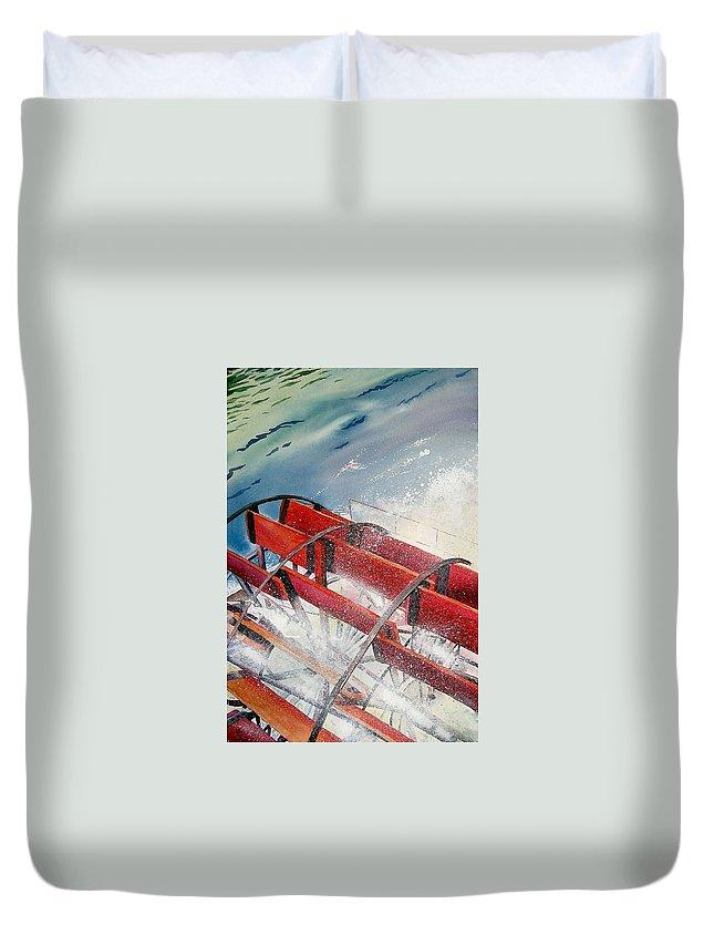 Paddlewheeler Duvet Cover featuring the painting Sternwheeler Splash by Karen Stark