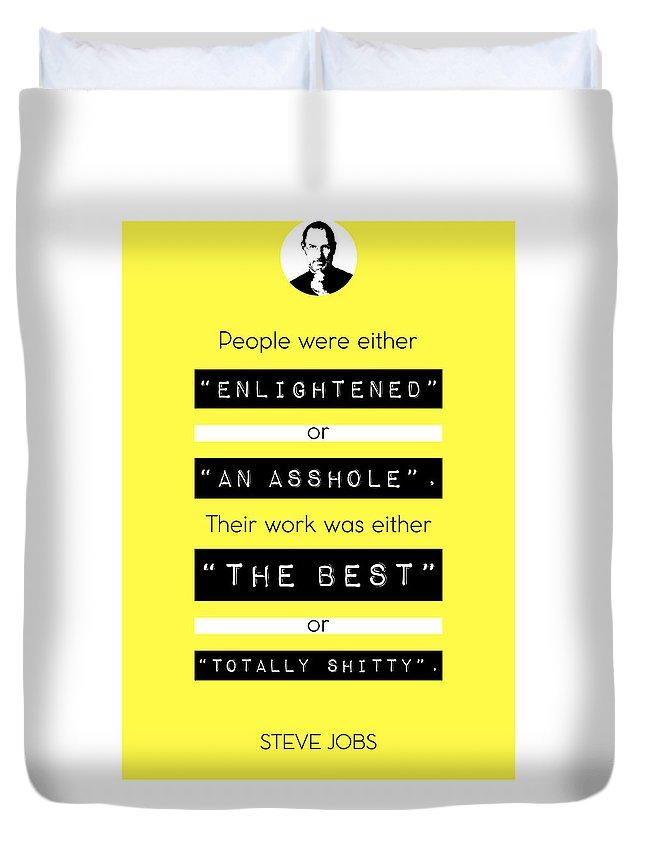 Steve Jobs Duvet Cover featuring the digital art Steve Jobs Quote by BONB Creative