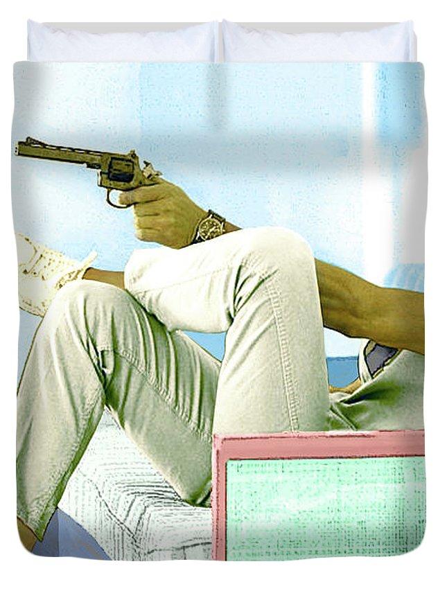 Steve Mcqueen Duvet Cover featuring the mixed media Steve Mcqueen, Colt Revolver, Palm Springs, Ca by Thomas Pollart