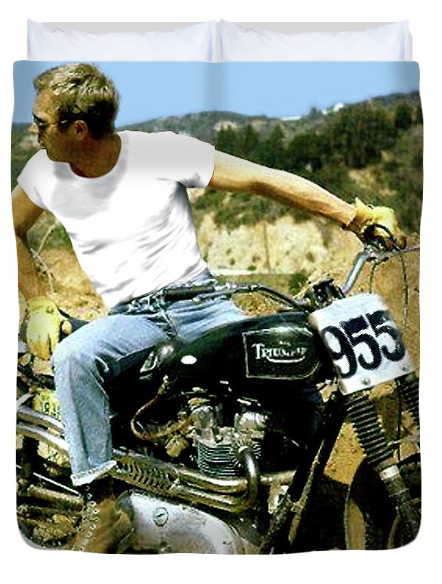 Steve Mcqueen Duvet Cover featuring the mixed media Steve Mcqueen, Triumph Motorcycle, On Any Sunday by Thomas Pollart