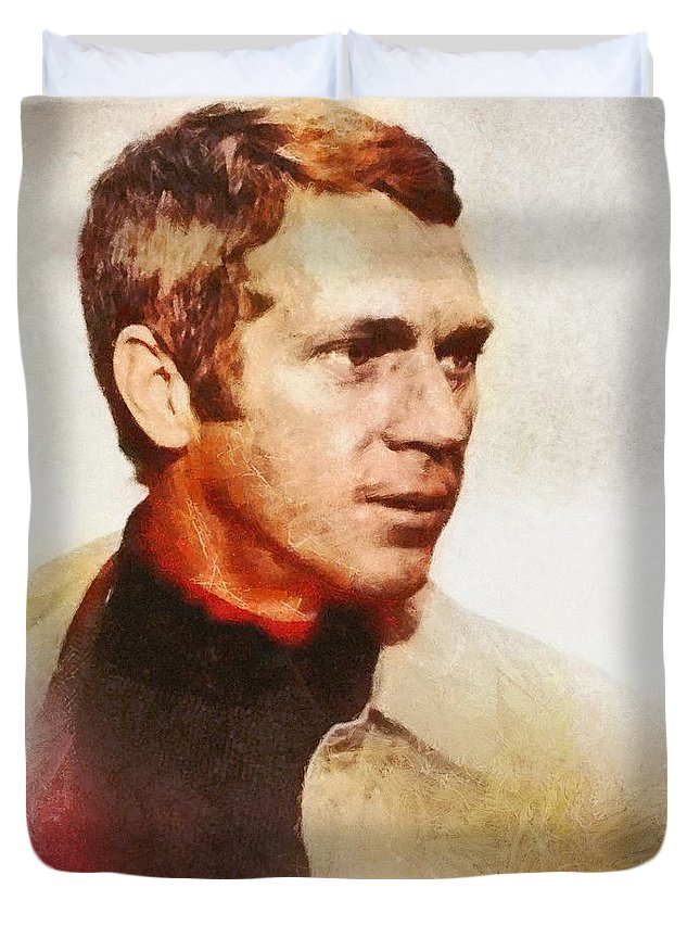 Hollywood Duvet Cover featuring the painting Steve Mcqueen, Vintage Hollywood Actor by Mary Bassett