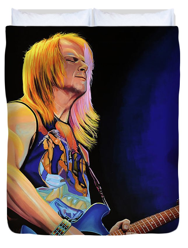 Steve Morse Duvet Cover featuring the painting Steve Morse Painting by Paul Meijering